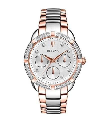 Bulova Damen-Armbanduhr Ladies Diamond Analog Quarz Edelstahl beschichtet 98R177