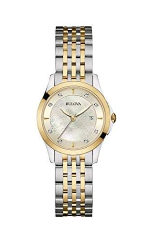Bulova Damen-Armbanduhr Diamonds Analog Quarz Edelstahl 98S148