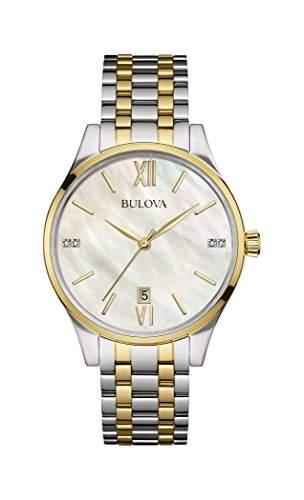 Bulova Damen-Armbanduhr Diamonds Analog Quarz Edelstahl 98S149