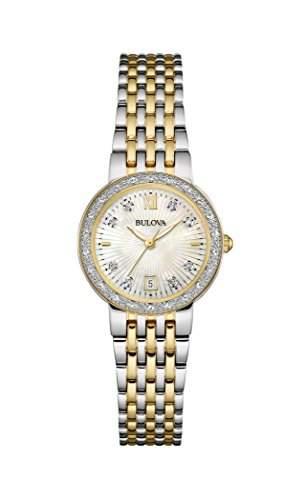 Bulova Damen-Armbanduhr Diamonds Analog Quarz Edelstahl 98W211