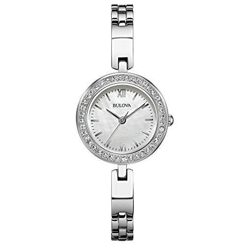 Bulova Damen-Armbanduhr Analog Quarz Kristall silberfarbenes Zifferblatt -silberfarbenes Armband aus Edelstahl - 98 x 107