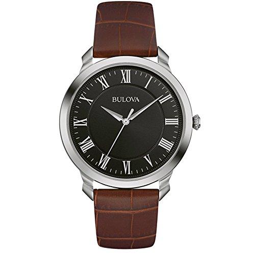 Bulova Classic Dress 96A184 Herren Quarz Armbanduhr mit schwarzem Zifferblatt Analoganzeige und braunem Armband