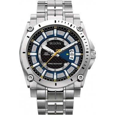 Bulova 96G131 Quarzuhr mit blauem Zifferblatt und silbernem Armband aus Edelstahl Herren