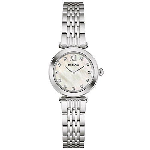 Bulova Damen Armbanduhr 96S167 Analog Zifferblatt Perlmutt Armband Edelstahl silberfarben