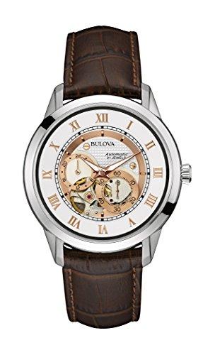 Bulova Automatik Herren Automatik Uhr mit weissem Zifferblatt Analog Anzeige und braunem Lederband 96 A172