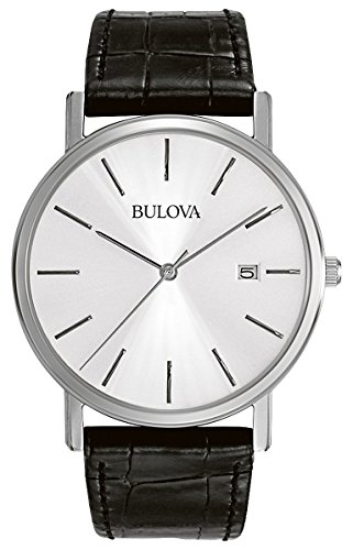 Bulova Classic 96B104 Herren Designer Armbanduhr aus Stahl Armband aus Leder Elegantes Design Schwarz