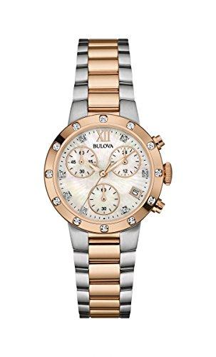 Bulova Damenarmbanduhr Chronograph Edelstahl Bicolor Diamond 98W210