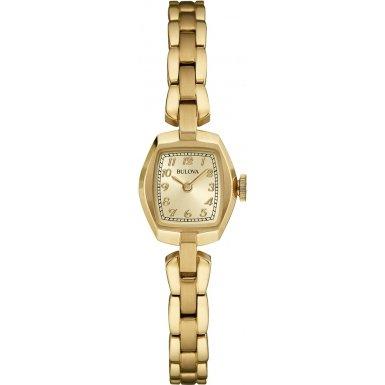 Bulova Damenarmbanduhr Edelstahl goldplattiert Ladies Vintage 97L155