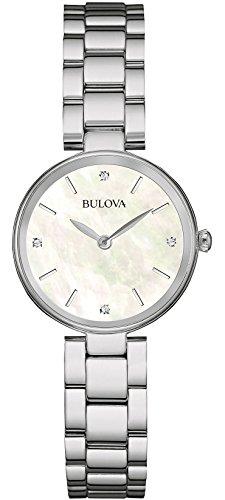 Bulova Diamond 96S159 Damen Designer Armbanduhr Edelstahl Weiss