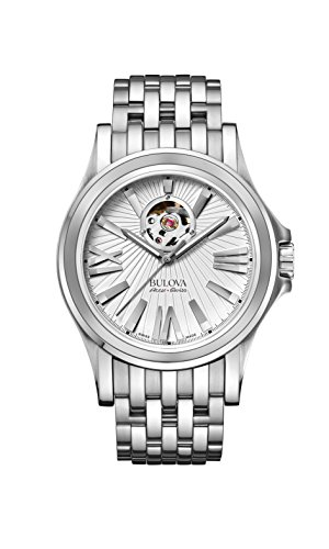 Bulova Accu Swiss Kirkwood Herren automatische Armbanduhr mit Silber Zifferblatt Analog Anzeige und Silber Edelstahl Armband 63 A125