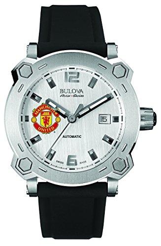 Bulova Accu Swiss Manchester United Arterie Herren Automatik Uhr mit Silber Zifferblatt Analog Anzeige und schwarz Silikon Strap 63b195