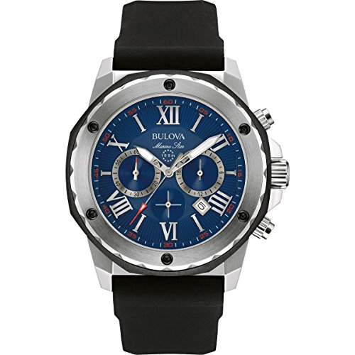 Bulova Marine Star 98B258 Herren Designer Armbanduhr Chronograph mit Gummiarmband wasserdicht blaues Zifferblatt