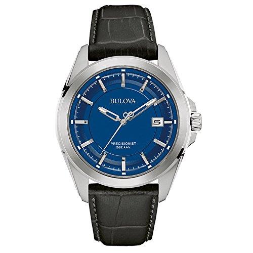 Bulova Precisionist 96B257 Herren Quarz Armbanduhr Analoganzeige blaues Zifferblatt Lederarmband in Schwarz