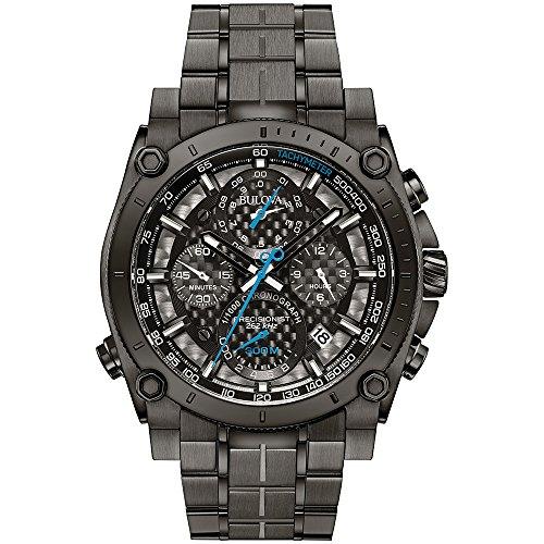 Bulova Precisionist 98G229 Herren Designer Armbanduhr Chronograph mit Armband aus Edelstahl Grau mit blauen Zeigern