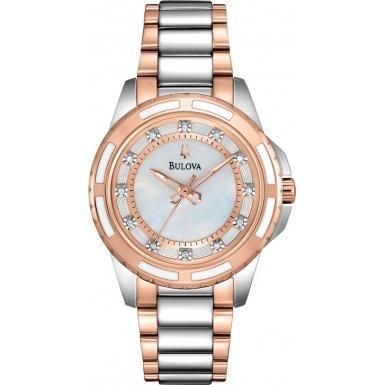 Bulova Diamond Girl Quarz Uhr mit Perlmutt Zifferblatt Analog Anzeige und Weiss Edelstahl Rose vergoldet Armband 98s134