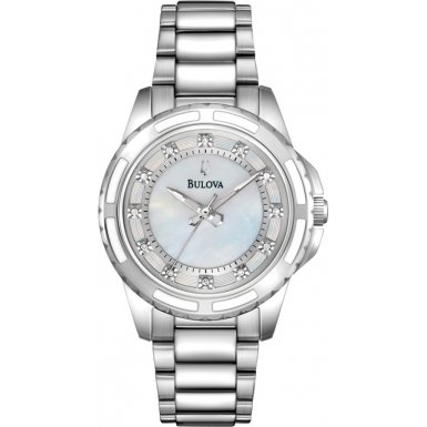 Bulova Diamond Girl Quarz Uhr mit Perlmutt Zifferblatt Analog Anzeige und Weiss Edelstahl Armband 96s144
