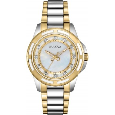 Bulova Diamond Girl Quarz Uhr mit Perlmutt Zifferblatt Analog Anzeige und Weiss Edelstahl vergoldet Armband 98s140