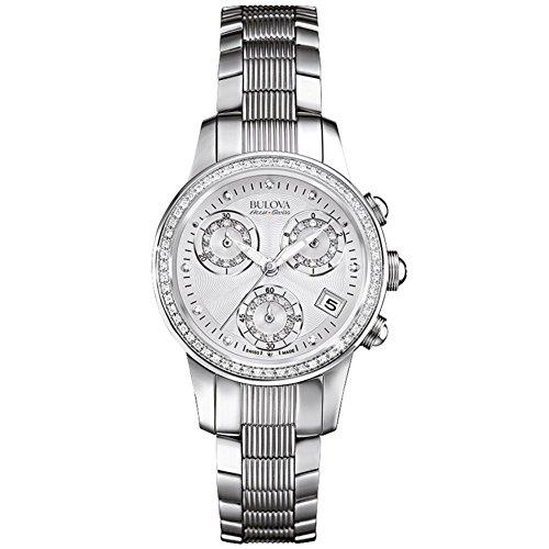 Bulova Accu Swiss Masella Damen Quarzuhr mit Mutter von Pearl Zifferblatt Chronograph Anzeige und Silber Edelstahl Armband 63r141