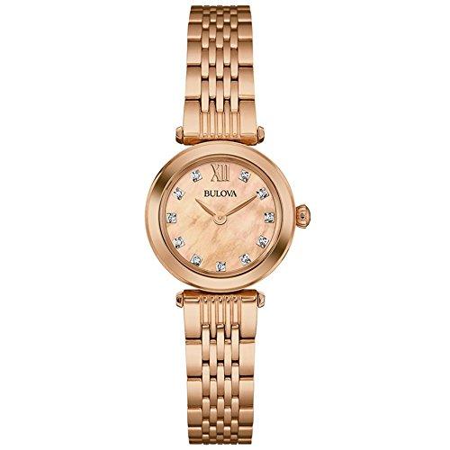 Bulova Damen Diamant Damen Quarzuhr mit Mutter von Pearl Zifferblatt Analog Anzeige und Rose Gold Edelstahl Rose vergoldet Armband 97s116
