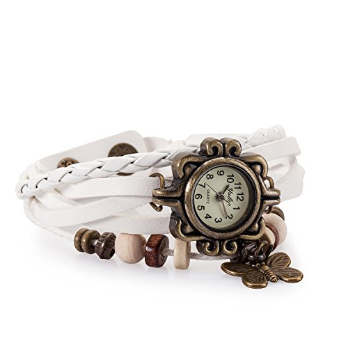cutebox Damen Ethic Style weiss Armbanduhr Quarz Uhrwerk mit Analog Display leather synthetic