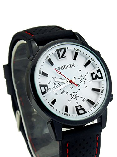 cutebox Herren Casual w b Armbanduhr Quarz Uhrwerk mit Analog Display mit schwarzem Silikon Band