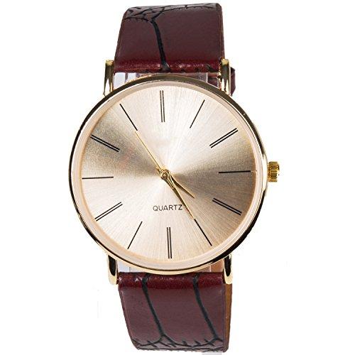 cutebox Herren einfach c brown Armbanduhr Quarz Uhrwerk mit Analog Display und vom Menschen verursachten Leder Band