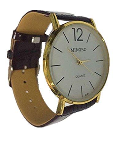 cutebox Herren einfach b brown Armbanduhr Quarz Uhrwerk mit Analog Display und vom Menschen verursachten Leder Band