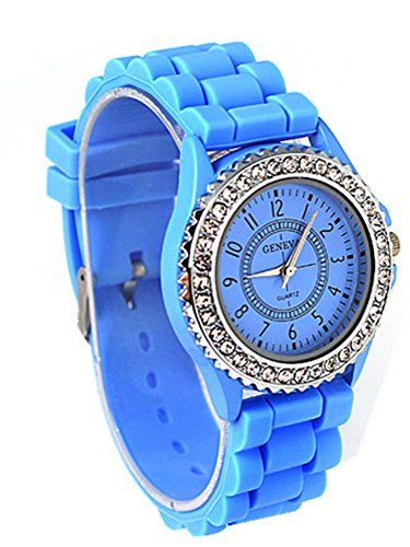 cutebox Unisex g light blau Armbanduhr Quarz Uhrwerk 1 bis 12 Arabische Ziffer Indizes