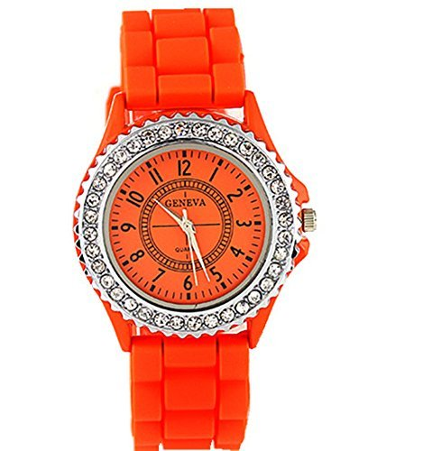 cutebox Unisex g orange Armbanduhr Quarz Uhrwerk mit Analog Display 1 bis 12 Arabische Ziffer Indizes