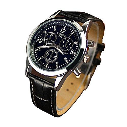 Genossen Luxus Mode Kunstleder Herren Blue Ray Glas Quartz Analog Uhren Schwarz