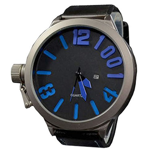 XXL 3D Grosse Herren Blau Grau mit Datumsanzeige Titanium Look Retro Design UBoot Uhr jb 561