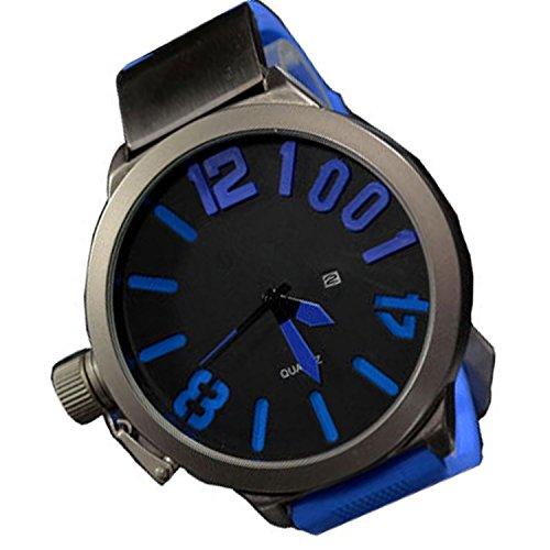 XXL 3D Grosse Herren Blau Grau mit Datumsanzeige Titanium Look Retro Design UBoot Uhr jb 562