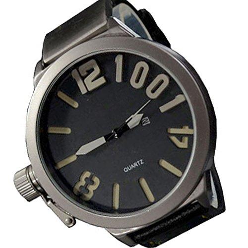 XXL 3D Grosse Herren Schwarz Grau Datumsanzeige Titanium Look Retro Design UBoot Uhrr jb 553