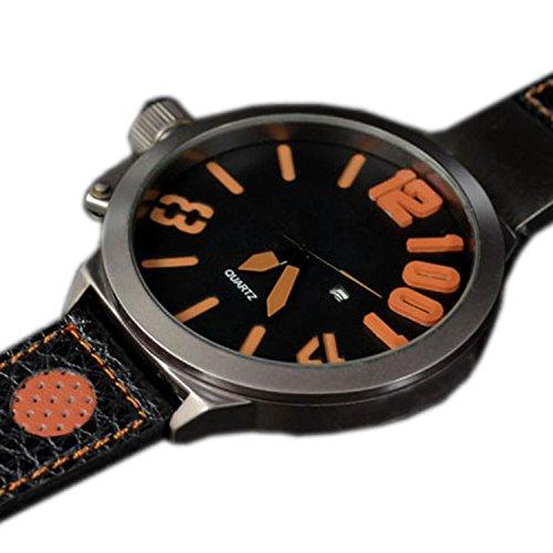 3D Grosse Herren Schwarz Orange in Titanium Look mit Datumsanzeige Retro Design UBoot Uhr jb 566