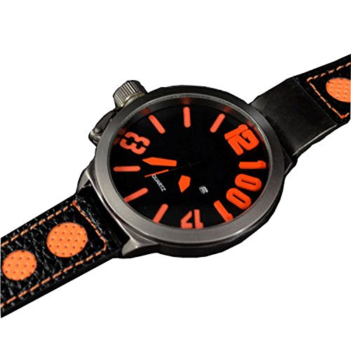3D Grosse Herren Schwarz Orange Titanium Look mit Datumsanzeige Retro Design UBoot Uhr jb 563