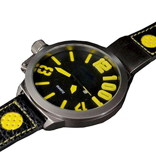 XXL 3D Grosse Herren Schwarz Gelb Titanium Look Retro Design UBoot Uhr jb 550