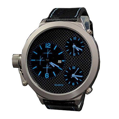 XXL Schwarz Blau mit Datumsanzeige Trend Titanium Look Retro Design U Boot Uhr jb 560