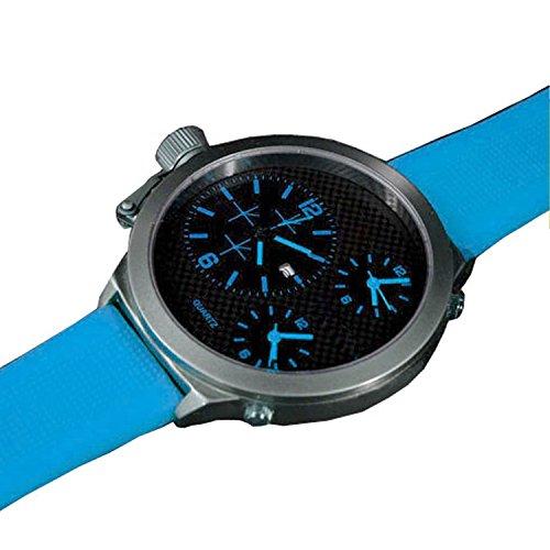 XXL Silikon Schwarz Blau mit Datumsanzeige Trend Titanium Look Retro Design U Boot Uhr jb 559