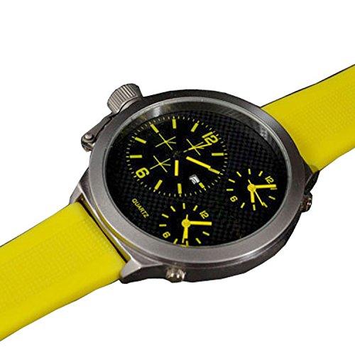 XXL Silikon Schwarz Gelb mit Datumsanzeige Trend Titanium Look Retro Design U Boot Uhr jb 558
