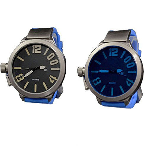 Silikonuhr XXL 3D Grosse Herren Blau Grau Datumsanzeige Titanium Look Retro Design UBoot Uhrr jb 555