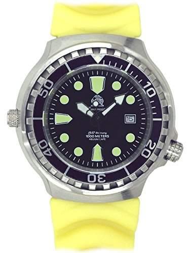 Taucher Uhr m Automatik Werk Saphir Glas PU Band Helium Ventil T46-Y