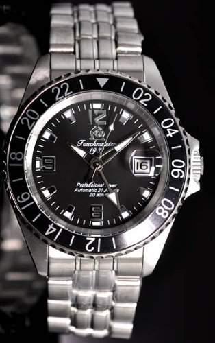 Automatik Taucher Uhr mit 24h Anzeige u Metallband T0082