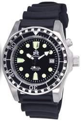Taucher Uhr m Automatik Werk Saphir Glas PU Band Helium Ventil T0257