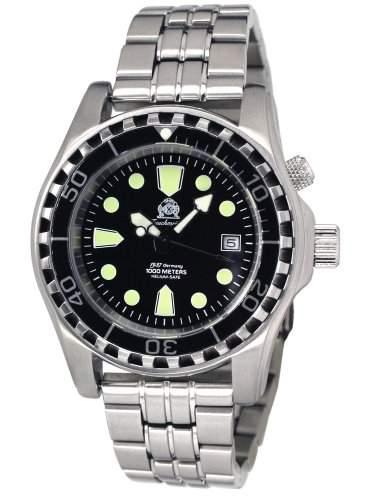 Taucher Uhr m Automatik Werk Saphir Glas Edelstahlband T0257M