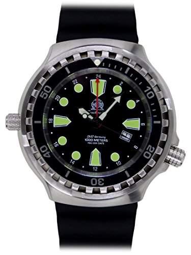 Tauchmeister 52mm Uhr 24 Std GMT Ronda Werk Taucher Band T0275