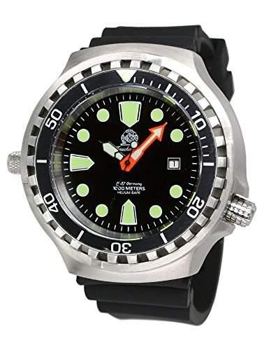 Tauchmeister 52mm Automatik Uhr Saphir Glas u PU-Band T0285