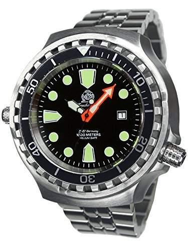Tauchmeister 52mm Automatik Uhr Metallband Saphir Glas T0285-M