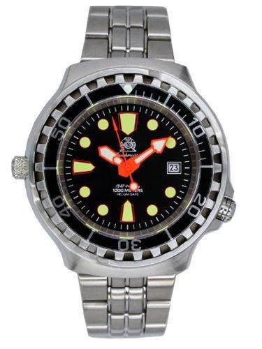 Taucher Uhr m Automatik Werk Saphir Glas Edelstahl Band Helium Ventil T0079M