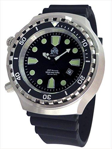 Tauchmeister BigSize Automatik Uhr Links Bedienung Helium Ventil T0296