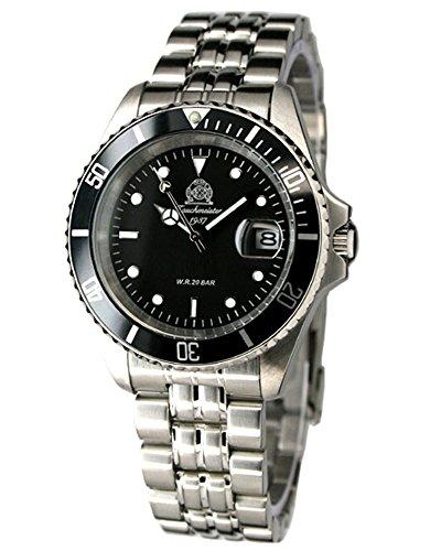 Tauchmeister Taucher Uhr massiv Edelstahlband Datum T0294